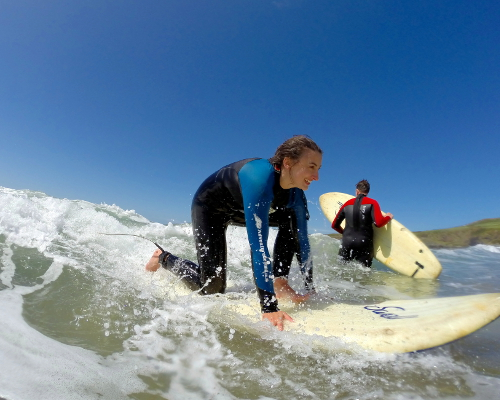 Surfing lesson at  Whitesands Bay Wales